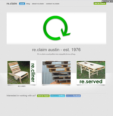 Screenshot of reclaim Austin, a local furniture maker