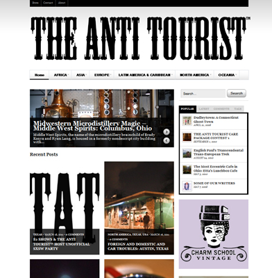 Screenshot of The Anti Tourist, an adventure travel blog
